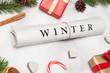 canvas print picture - winter zeitung und weihnachtsdeko