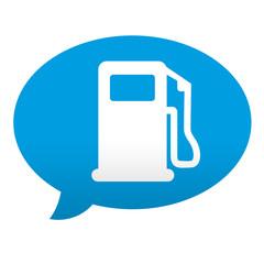 Etiqueta tipo app azul comentario simbolo surtidor de gasolina