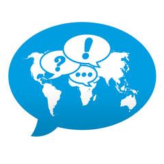 Etiqueta tipo app azul comentario simbolo globalizacion