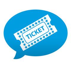 Etiqueta tipo app azul comentario simbolo ticket