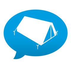 Etiqueta tipo app azul comentario simbolo tienda de campaña