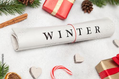 canvas print picture winter zeitung und weihnachtsdeko