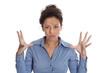 Hysterische Frau mit Wutausbruch: Business Frau freigestellt