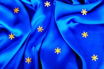 Beautiful silk wavy fabric blue with gold stars