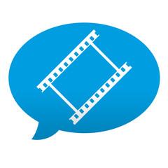 Etiqueta tipo app azul comentario simbolo video