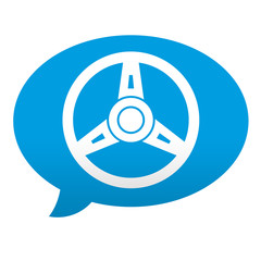 Etiqueta tipo app azul comentario simbolo volante
