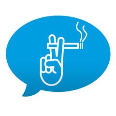 Etiqueta tipo app azul comentario simbolo zona de fumadores