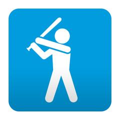 Etiqueta tipo app azul simbolo beisbol