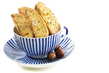 Biscotti in a blue cup.