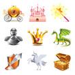Fairy tale icons vector set