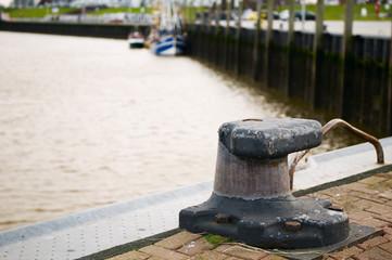 empty bollard in Bensersiel-Harbour