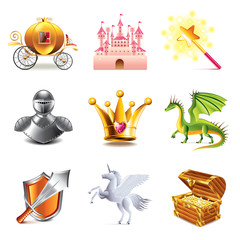 Fairy tale icons vector set