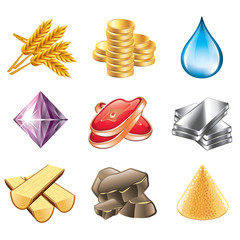 Game resources icons vector set