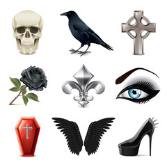 Gothic attributes icons vector set