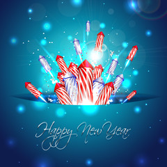 New year background with fireworks in pocket