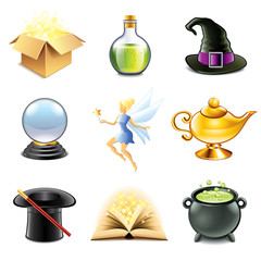 Magic and sorcery icons vector set