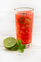 Cold fresh watermelon juice