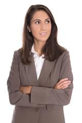 Geschäftsfrau freigestellt blickt zur Seite