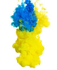 Yellow and blue ink in water