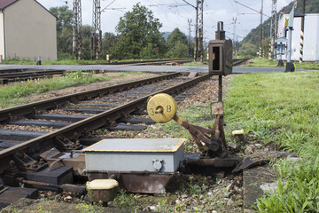 old manual railway turnout, rail transport