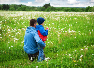 Father and son on dandelion field