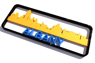 Albany USA base colors of the flag of the city 3D design