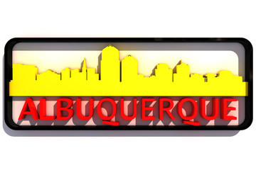 Albuquerque USA base colors of the flag of the city 3D design