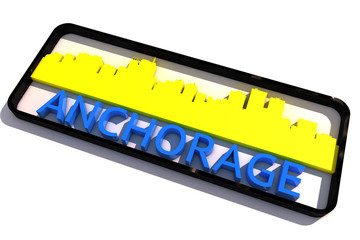 Anchorage USA base colors of the flag of the city 3D design