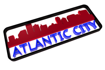 Atlantic City USA base colors of the flag of the city 3D design