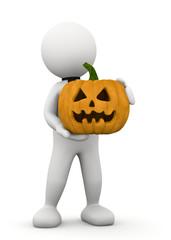 omino bianco con zucca di halloween
