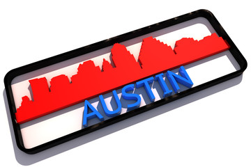 Austin USA base colors of the flag of the city 3D design