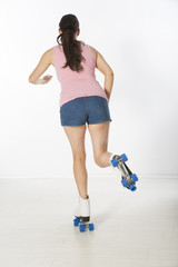 Rear view of a roller skater