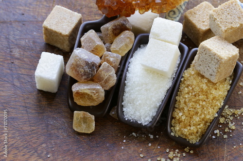 canvas print picture different types of sugar - brown, white and refined sugar