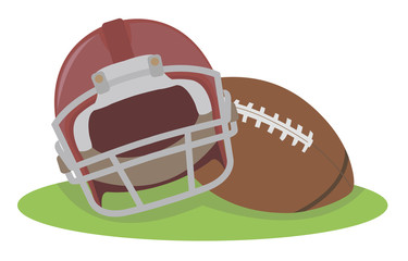 American football. Helmet and ball