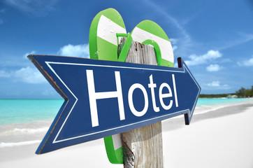 Hotel arrow on the beach