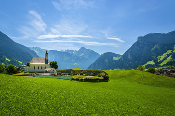 View of beautiful Ziller Valley with white typical church, Alps