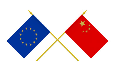 Flags, China and European Union