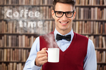 male student with hot coffee