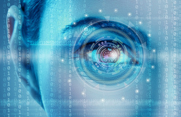 Eye viewing digital information