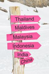 Direction arrows against snow