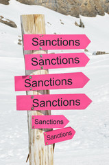 Sanctions arrows against snow