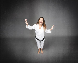angry karate girl screaming