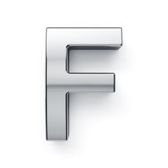 3d render of metallic alphabet letter symbol - F