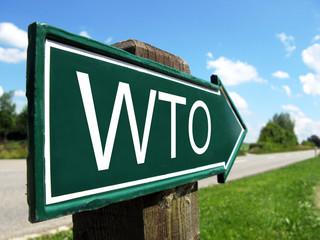 WTO signpost along a rural road