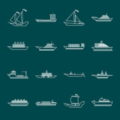 Ship and boats icons set outline