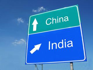 China-India road sign