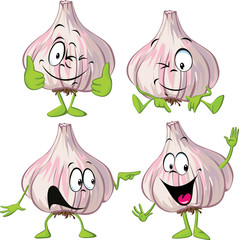 garlic cartoon with hands and legs standing