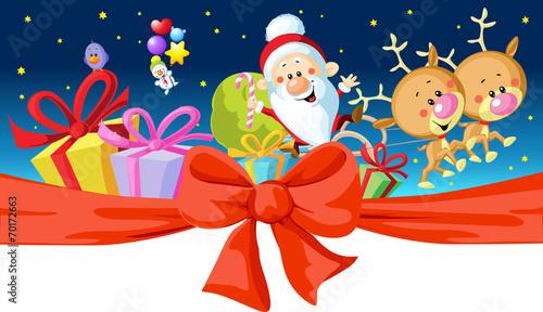 christmas design - Santa rides in a sleigh