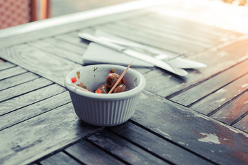 Small bowl of olives outside