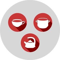 three flat icons kitchen theme